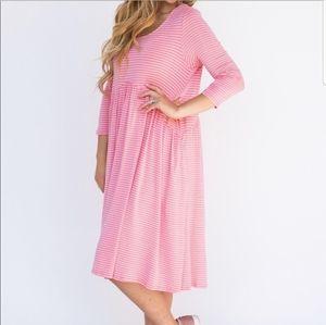 XXS Coral Pink & Ivory Oakley Dress Agnes & Dora